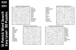 80 St Patrick Word Search Puzzles – Easy Gráfico Páginas KDP Por Oxyp
