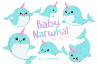 Print on Demand: Baby Narwhal Clipart Set Graphic Illustrations By DigitalPapers