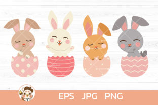 Bundle of Cute Rabbit in Easter Egg Graphic Illustrations By Guppic the duck