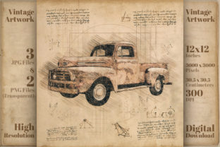 Print on Demand: Classic Car Ford Retro Drawing Sketch Graphic Illustrations By Vintage 12by12