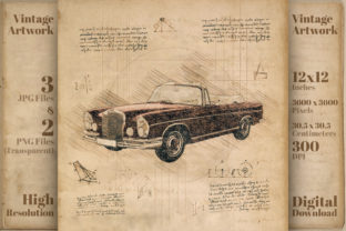 Print on Demand: Classic Car Mercedes Benz Retro Drawing Graphic Illustrations By Vintage 12by12