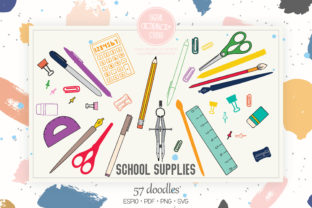 Color School, Stationary Office Supplies Graphic Illustrations By Digital_Draw_Studio