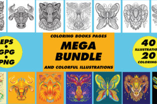 Coloring Books Pages Animals Bundle  By Alinart