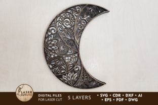 Print on Demand: Cut Files - the Moon Graphic Crafts By LaserCutano