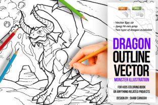 Dragons Illustration Coloring Page Graphic Coloring Pages & Books Kids By SCWorkspace