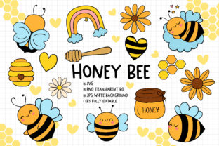 Print on Demand: Honey Bee SVG, Bee SVG Bundle Graphic Crafts By Chonnieartwork