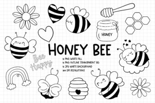 Print on Demand: Honey Bee Digital Stamps, Honey Bee PNG Graphic Illustrations By Chonnieartwork