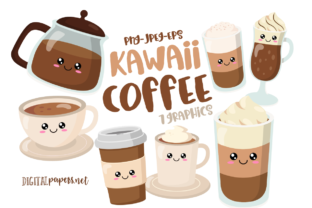 Print on Demand: Kawaii Coffee Clipart Set Graphic Illustrations By DigitalPapers