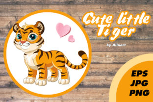 Little Cute Tiger Vector Illustration Graphic Illustrations By Alinart