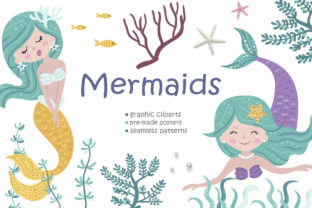 Mermaid Clipart & Pattern Graphic Illustrations By Nafanya