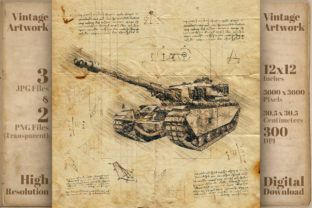 Print on Demand: Military War Tank Retro Drawing Sketch Graphic Illustrations By Vintage 12by12