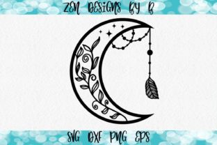 Moon Catcher and Vines Graphic Illustrations By ZenDesignsByB