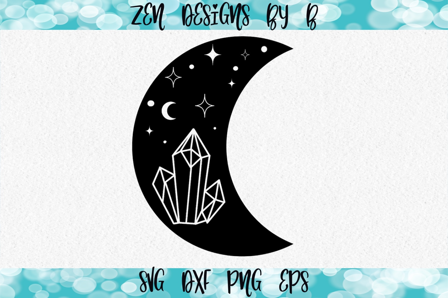 Moon with Crystals and Sky Hand Drawn SVG File