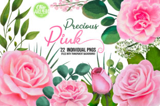 Print on Demand: Pink Roses Floral 22 PNG Watercolor Set Graphic Illustrations By clipArtem