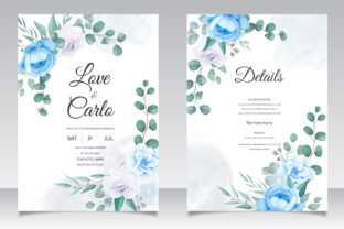 Romantic Blue Floral Wedding Card Graphic Print Templates By dinomikael01