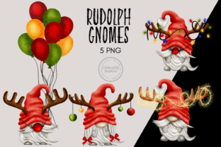 Print on Demand: Rudolph Christmas Reindeer Gnomes Graphic Illustrations By Celebrately Graphics