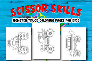 Scissor Skills Monster Truck Coloring Graphic Coloring Pages & Books Kids By Moonz Coloring