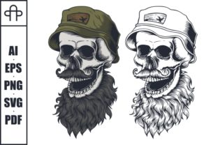 Print on Demand: Skull Beard Mustache Wear Hat Graphic Illustrations By Andypp