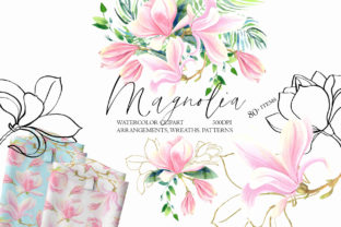 Spring Magnolia Grafik Illustrationen von evgenia_art_art