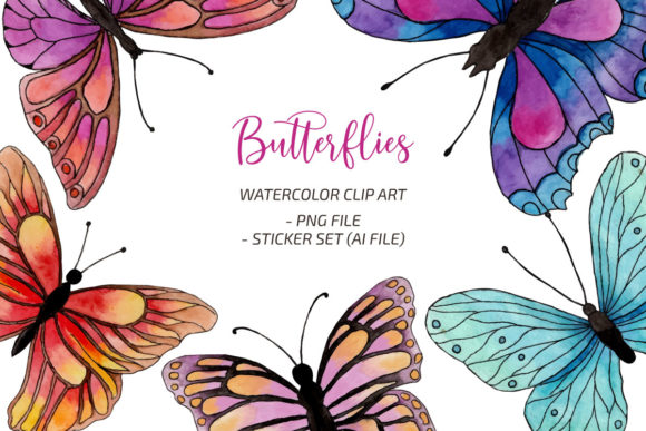 Watercolor Butterfly Illustration Graphic Print Templates By UrufaArt