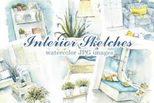 Watercolor Interior Sketches Graphic Illustrations By Мария Кутузова