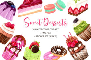 Watercolor Sweet Dessert Illustration Graphic Print Templates By UrufaArt