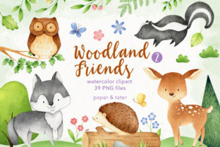 Watercolor Woodland Animals 2 Clipart Graphic Illustrations By PaperAndTater
