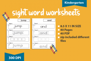 Print on Demand: 40 Sight Word Worksheet Workbook Graphic Teaching Materials By BoxxNeed