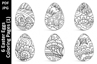 6 Easter Eggs Coloring Pages (1) Graphic Coloring Pages & Books Adults By Oxyp