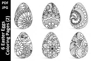 6 Easter Eggs Coloring Pages (2) Graphic Coloring Pages & Books Adults By Oxyp