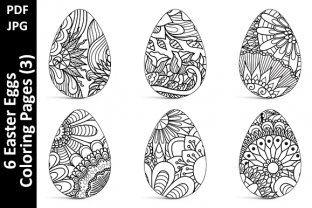 6 Easter Eggs Coloring Pages (3) Graphic Coloring Pages & Books Adults By Oxyp