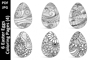 6 Easter Eggs Coloring Pages (4) Graphic Coloring Pages & Books Adults By Oxyp