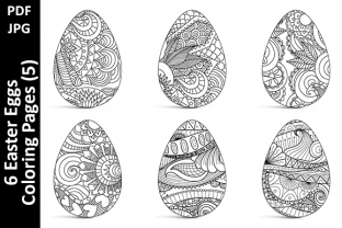 6 Easter Eggs Coloring Pages (5) Graphic Coloring Pages & Books Adults By Oxyp
