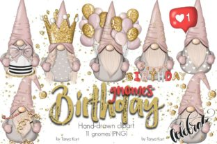 Birthday Nordic Gnomes Graphic Illustrations By Tanya Kart