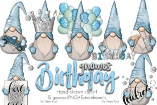 Blue Birthday Nordic Gnomes Icons Graphic Icons By Tanya Kart