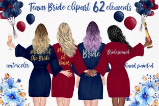 Print on Demand: Bridesmaid Robes Clipart Wedding Clipart Graphic Illustrations By LeCoqDesign