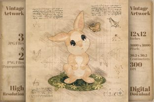Print on Demand: Bunny Vintage Retro Drawing Sketch Graphic Illustrations By Vintage 12by12