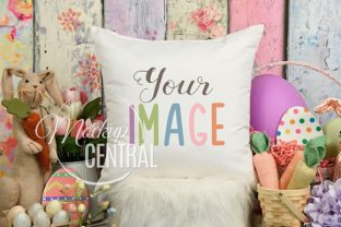 Colorful Easter Square Pillow Mockup JPG Graphic Product Mockups By Mockup Central