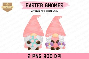 Print on Demand: Easter Watercolor Gnome Clipart Graphic Illustrations By SineDigitalDesign