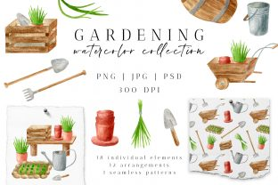 Gardening Tools Watercolor PNG Clipart Graphic Illustrations By Olya Haifisch