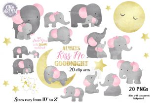 Print on Demand: Girl Baby Elephant 20 PNG Combo Clip Art Graphic Illustrations By clipArtem