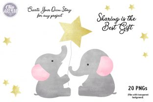 Print on Demand: Girl Baby Elephant 20 PNG Combo Clip Art Graphic Illustrations By clipArtem 2