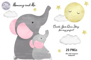 Print on Demand: Girl Baby Elephant 20 PNG Combo Clip Art Graphic Illustrations By clipArtem 3