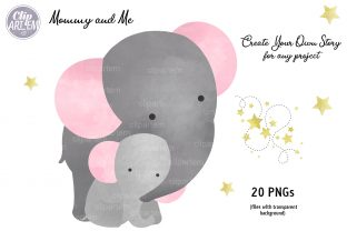 Print on Demand: Girl Baby Elephant 20 PNG Combo Clip Art Graphic Illustrations By clipArtem 4