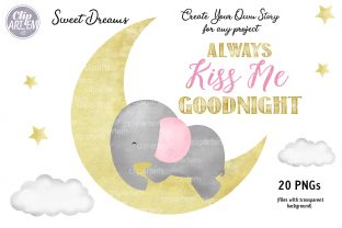Print on Demand: Girl Baby Elephant 20 PNG Combo Clip Art Graphic Illustrations By clipArtem 5