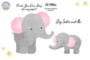 Print on Demand: Girl Baby Elephant 20 PNG Combo Clip Art Graphic Illustrations By clipArtem 6