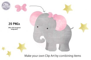 Print on Demand: Girl Baby Elephant 20 PNG Combo Clip Art Graphic Illustrations By clipArtem 7