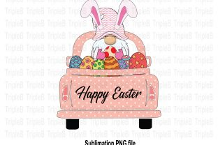 Print on Demand: Gnome Bunny Easter on Pickup Car Sub Graphic Illustrations By TripleBcraft