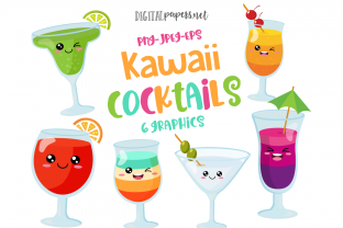 Print on Demand: Kawaii Cocktails Clipart Set Graphic Illustrations By DigitalPapers