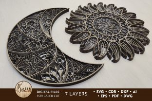 Print on Demand: Multilayer Cut Files the Sun & the Moon Graphic Crafts By LaserCutano
